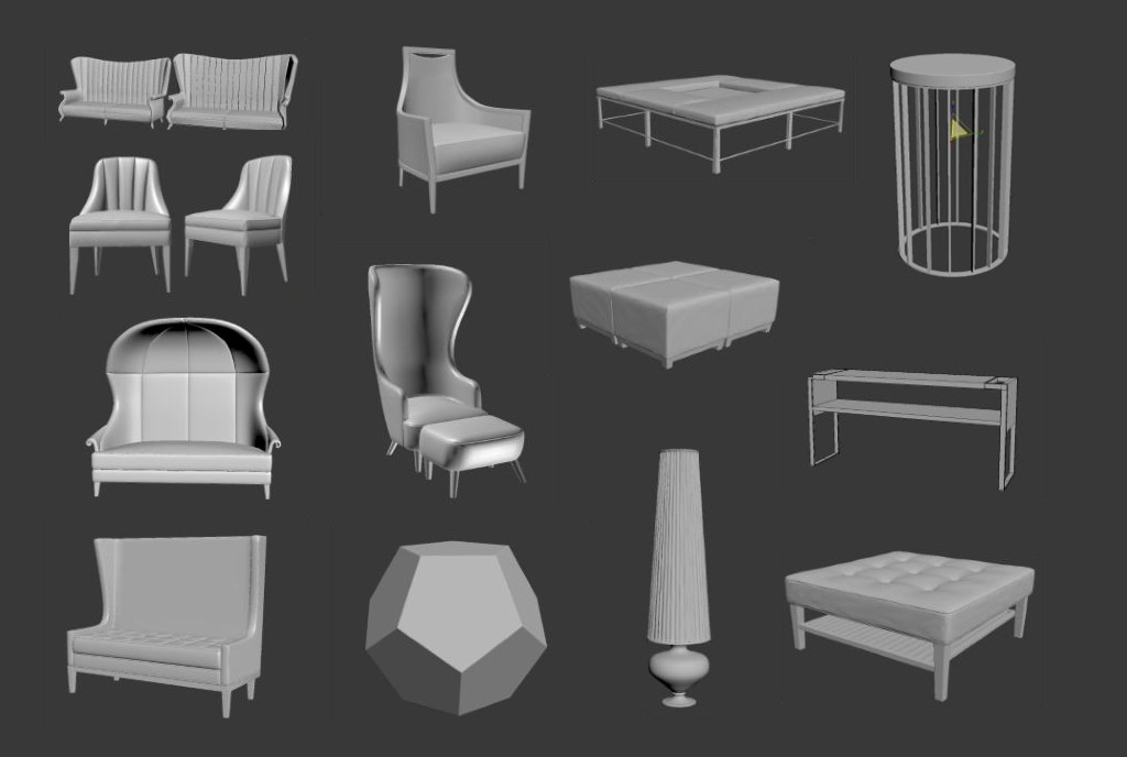Hotel furniture rendering